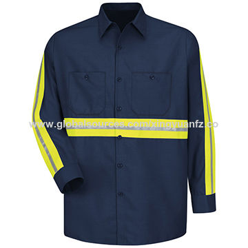 Men's Long-sleeved reflective Work Shirt,100% Cotton Anti-shrink Breathable