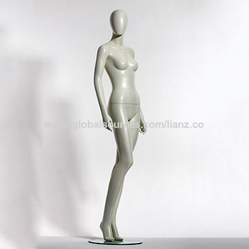 Female mannequin, stand pose/made of fiber glass/tempered glass or metal base
